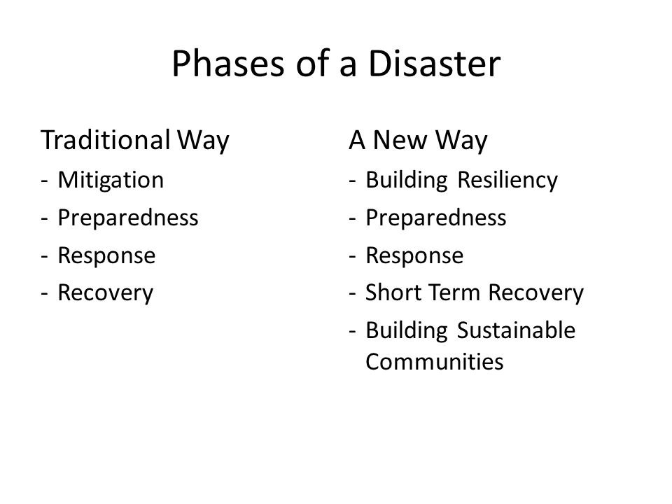 Phases of a Disaster Traditional Way A New Way Mitigation Preparedness