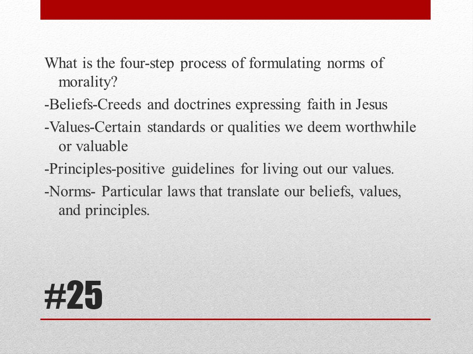 What is the four-step process of formulating norms of morality