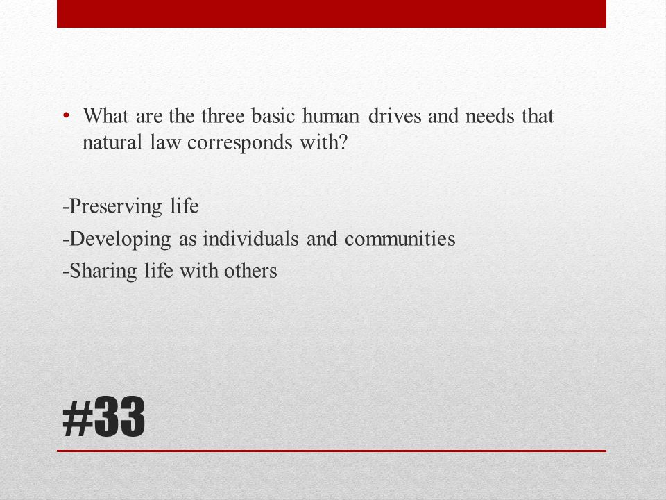 What are the three basic human drives and needs that natural law corresponds with