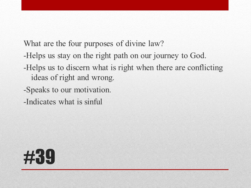 What are the four purposes of divine law