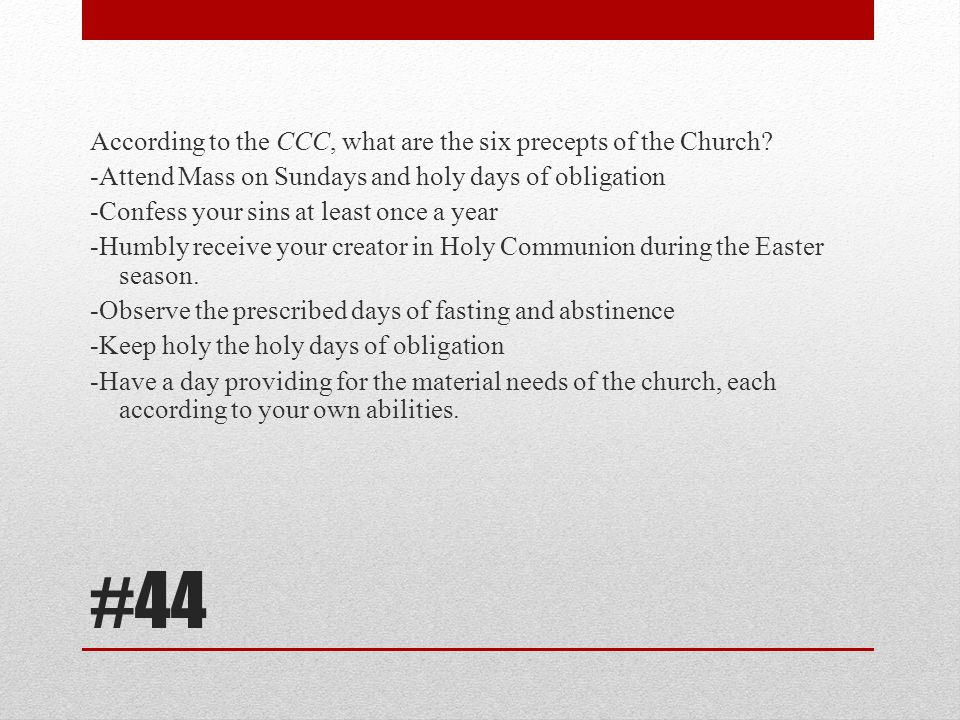 According to the CCC, what are the six precepts of the Church