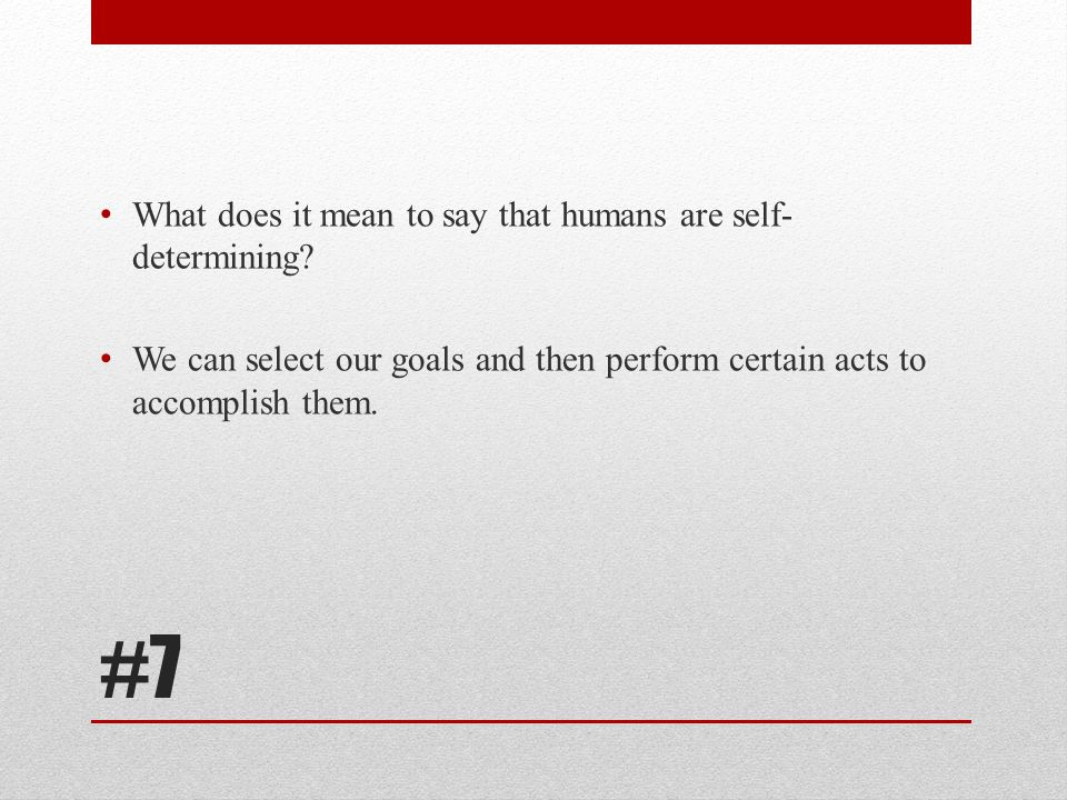 #7 What does it mean to say that humans are self-determining