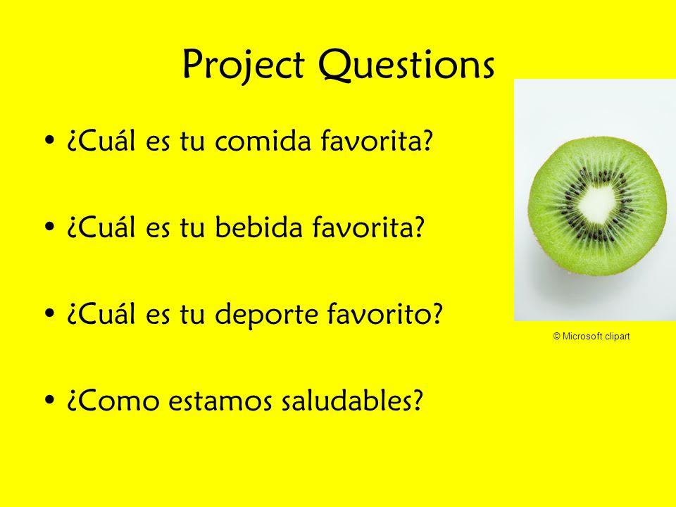 Project Questions ¿Cuál es tu comida favorita