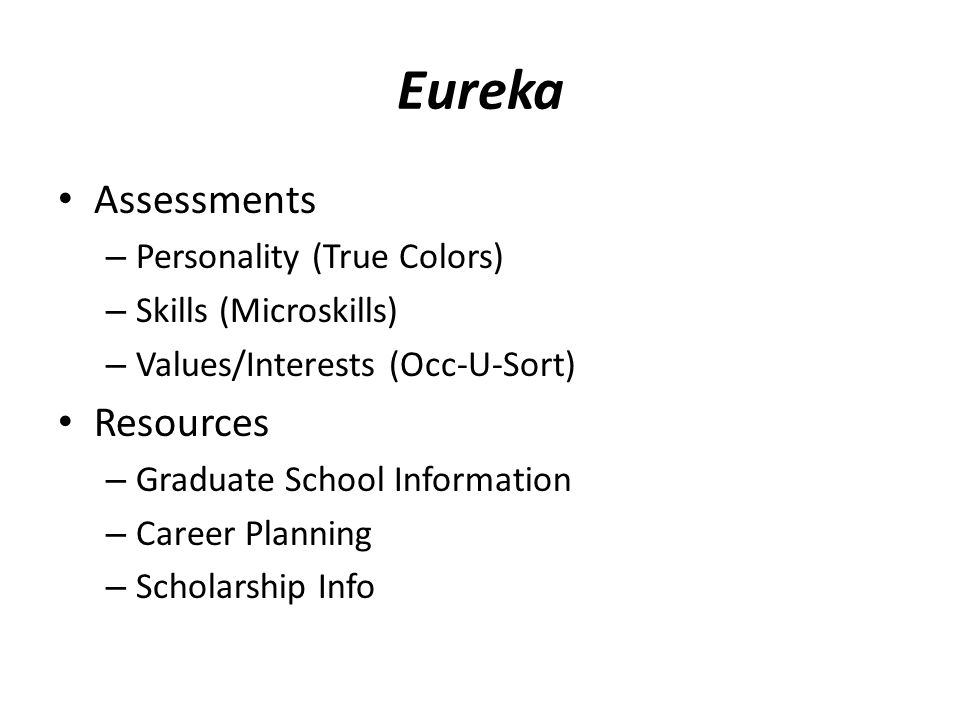 Eureka Assessments Resources Personality (True Colors)