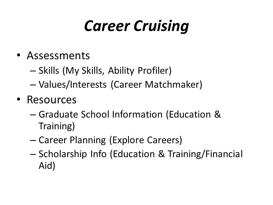 Career Cruising Assessments Resources
