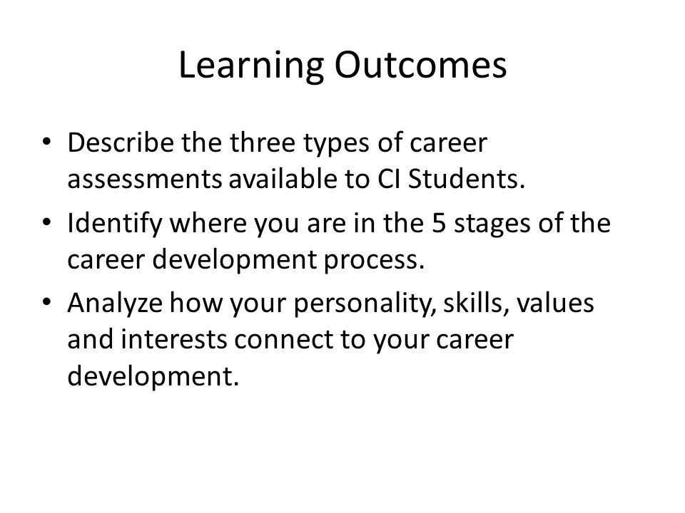 Learning Outcomes Describe the three types of career assessments available to CI Students.