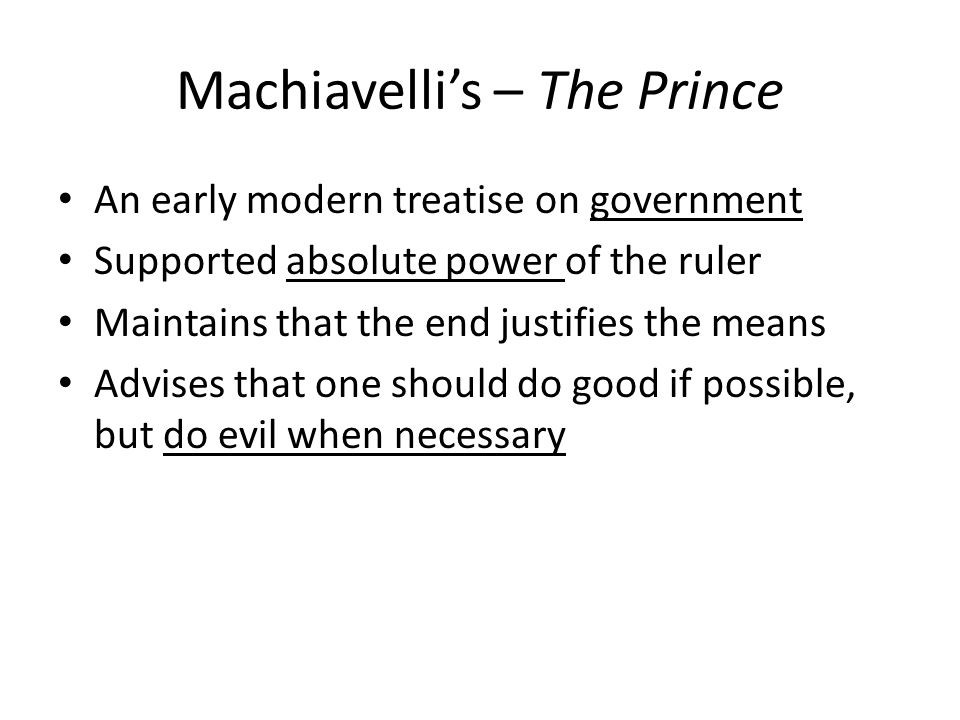 Machiavelli's – The Prince