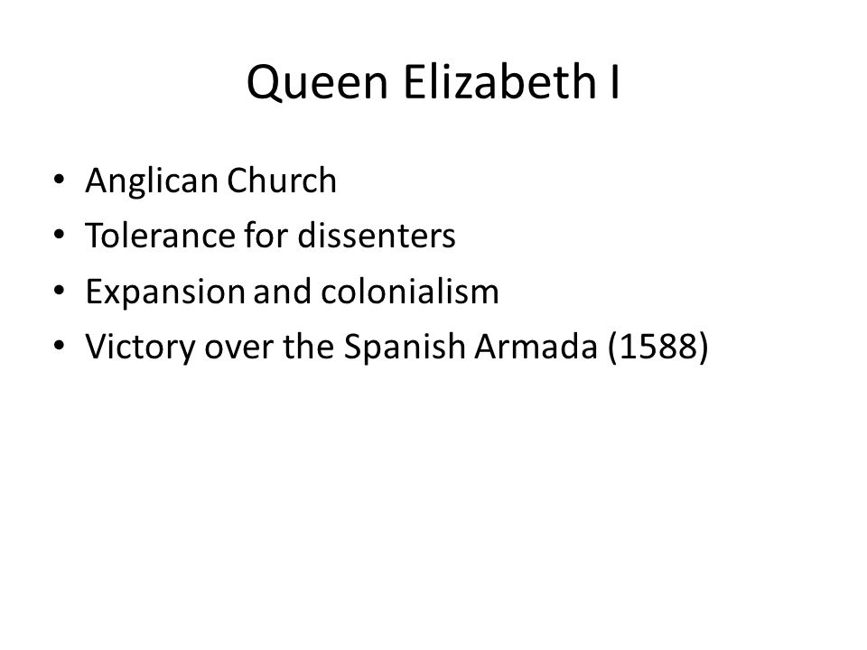 Queen Elizabeth I Anglican Church Tolerance for dissenters