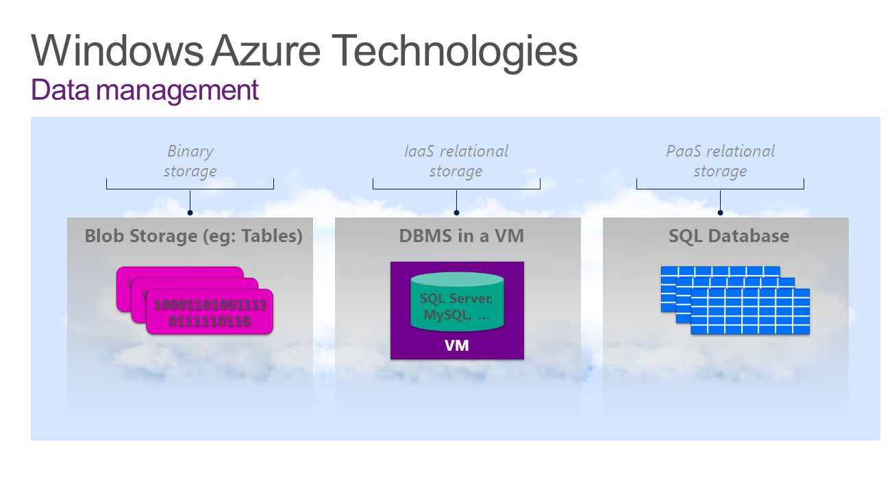 Windows Azure Technologies Data management