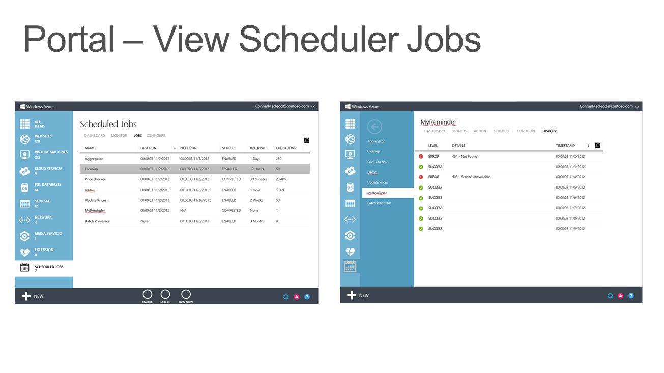 Portal – View Scheduler Jobs