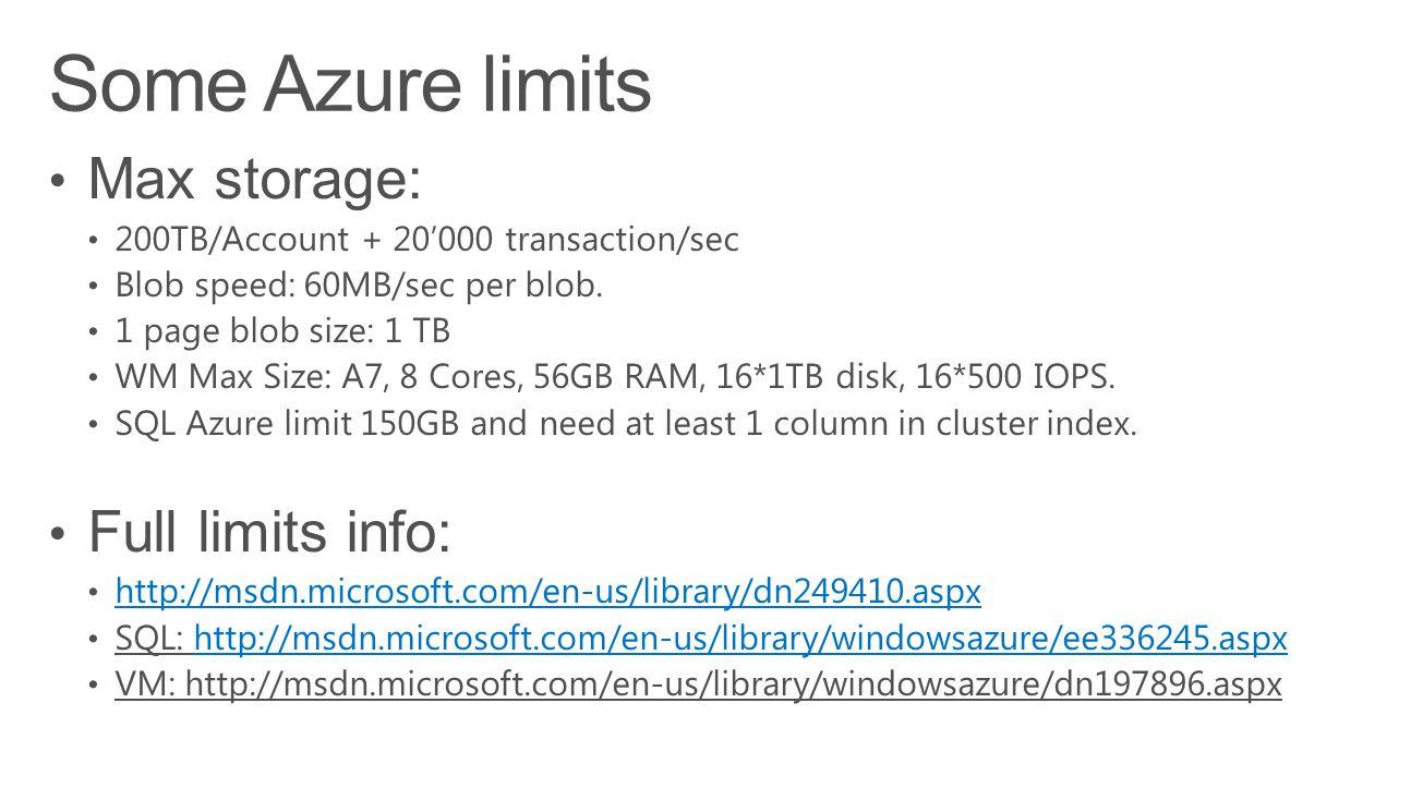 Some Azure limits Max storage: Full limits info: