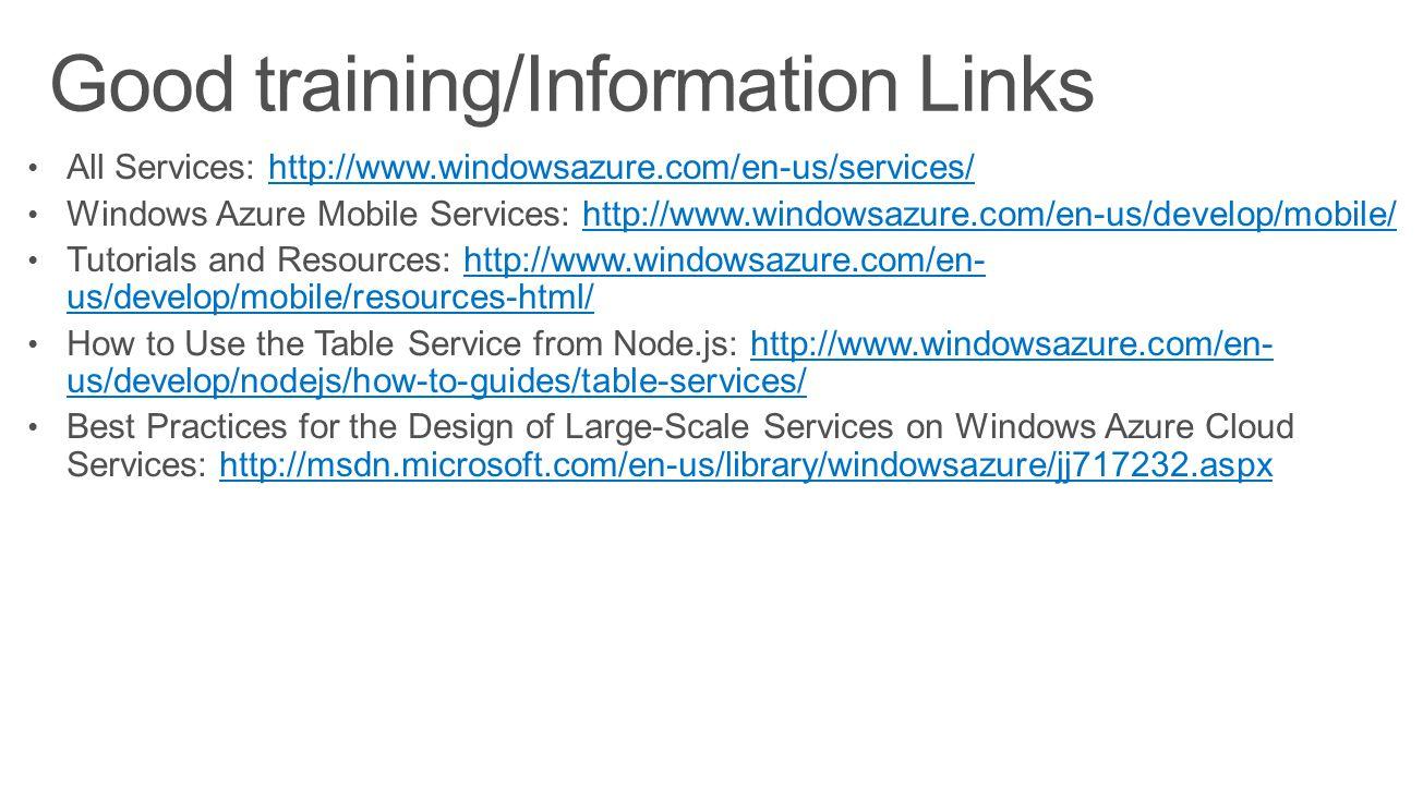 Good training/Information Links