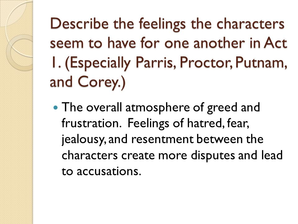 Describe the feelings the characters seem to have for one another in Act 1. (Especially Parris, Proctor, Putnam, and Corey.)