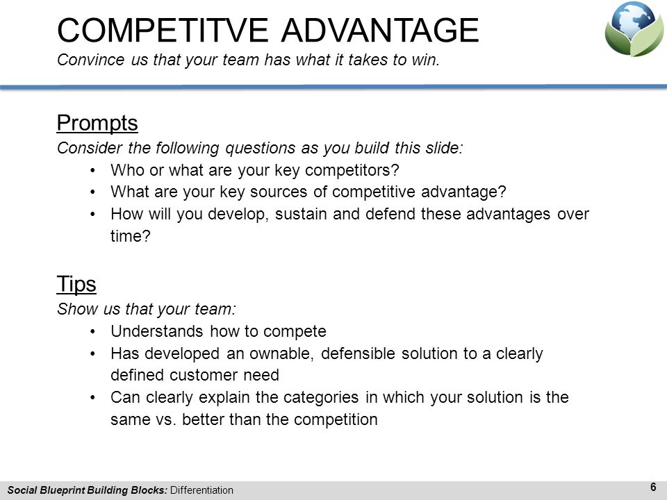 COMPETITVE ADVANTAGE Convince us that your team has what it takes to win.