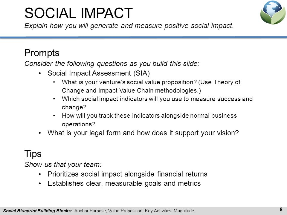 SOCIAL IMPACT Explain how you will generate and measure positive social impact.
