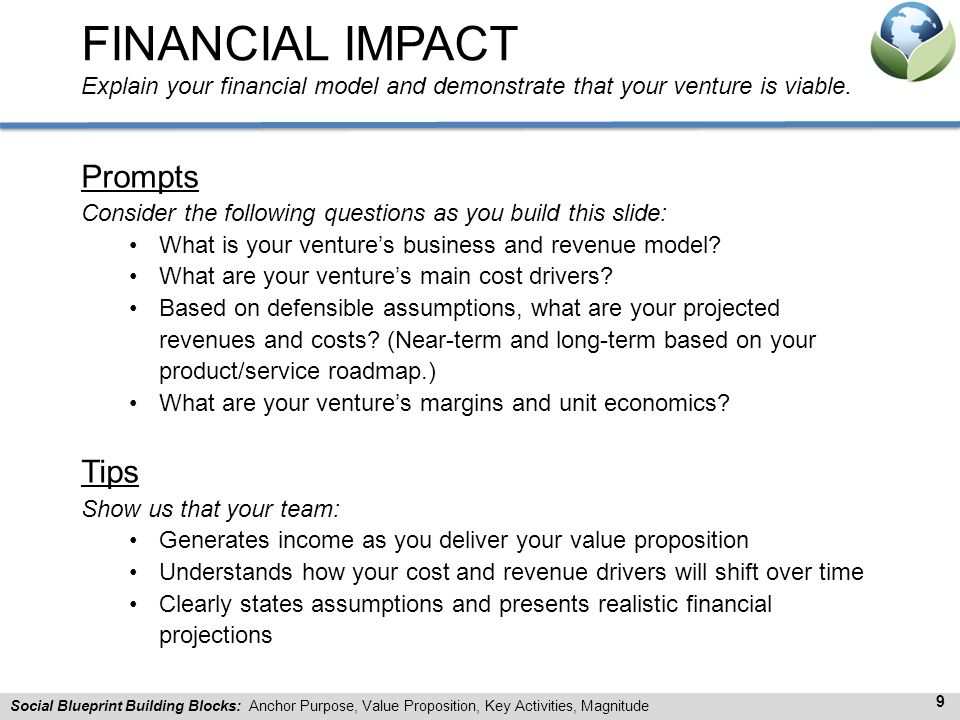 FINANCIAL IMPACT Explain your financial model and demonstrate that your venture is viable.