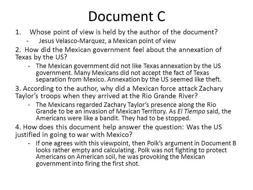Document C Whose point of view is held by the author of the document