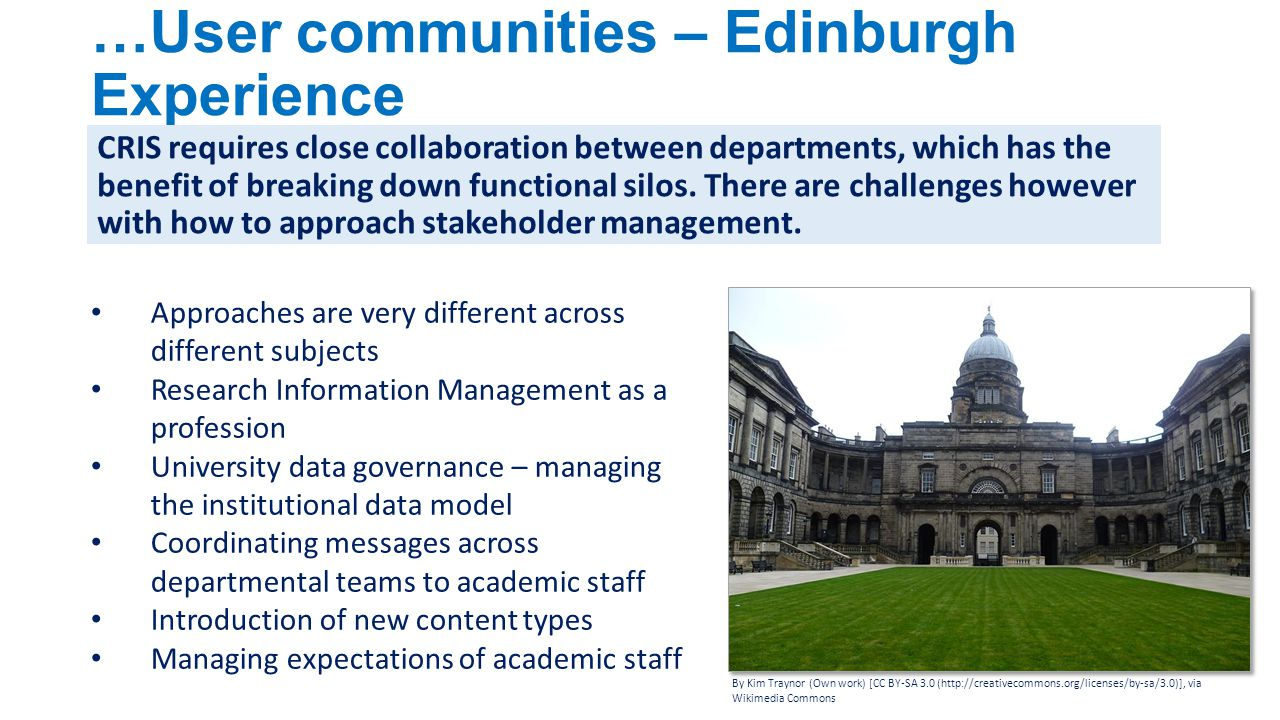 …User communities – Edinburgh Experience