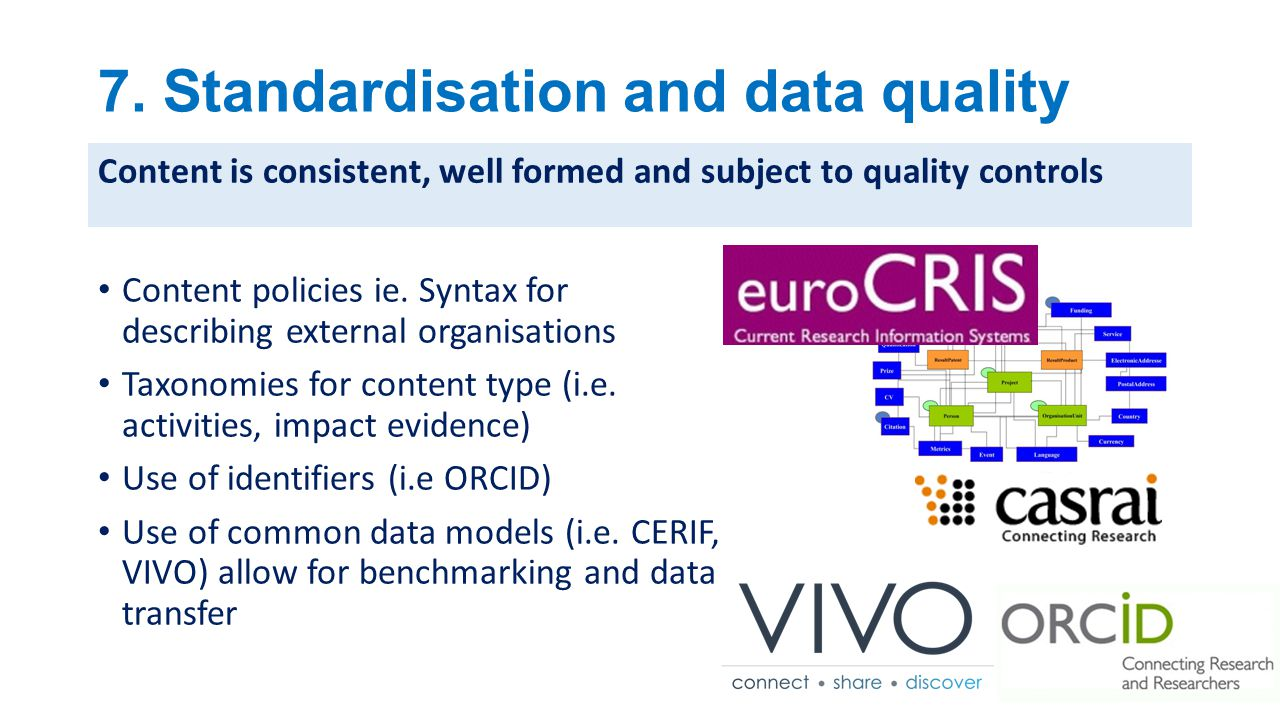 7. Standardisation and data quality