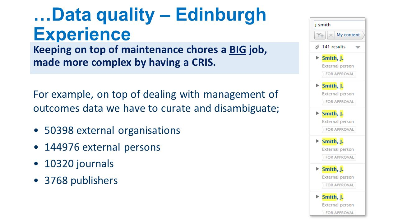 …Data quality – Edinburgh Experience