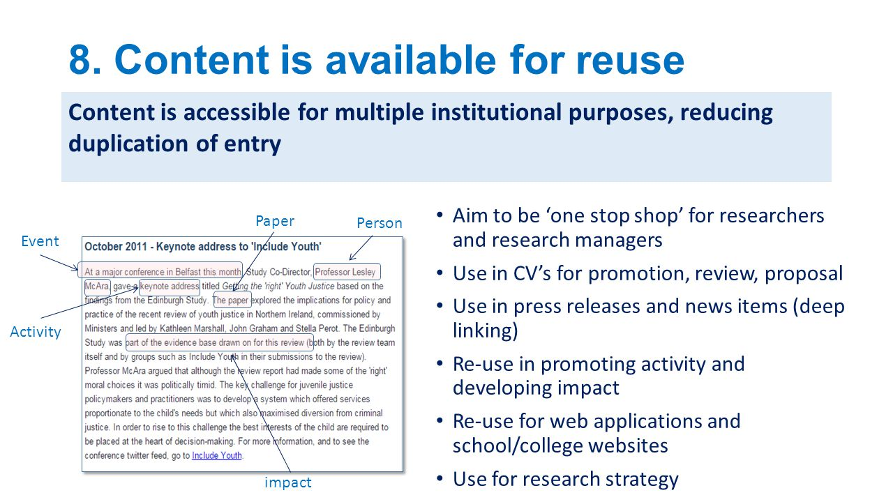 8. Content is available for reuse