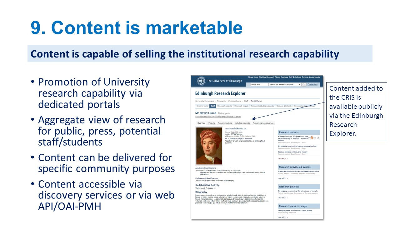 9. Content is marketable Content is capable of selling the institutional research capability.