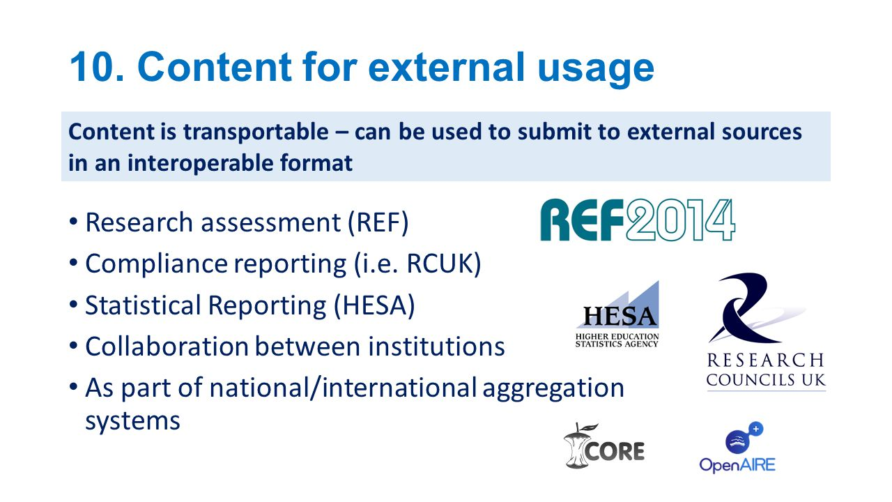 10. Content for external usage
