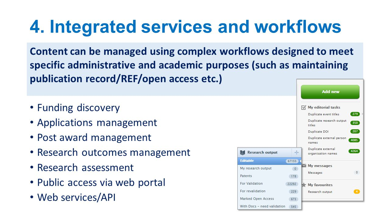 4. Integrated services and workflows