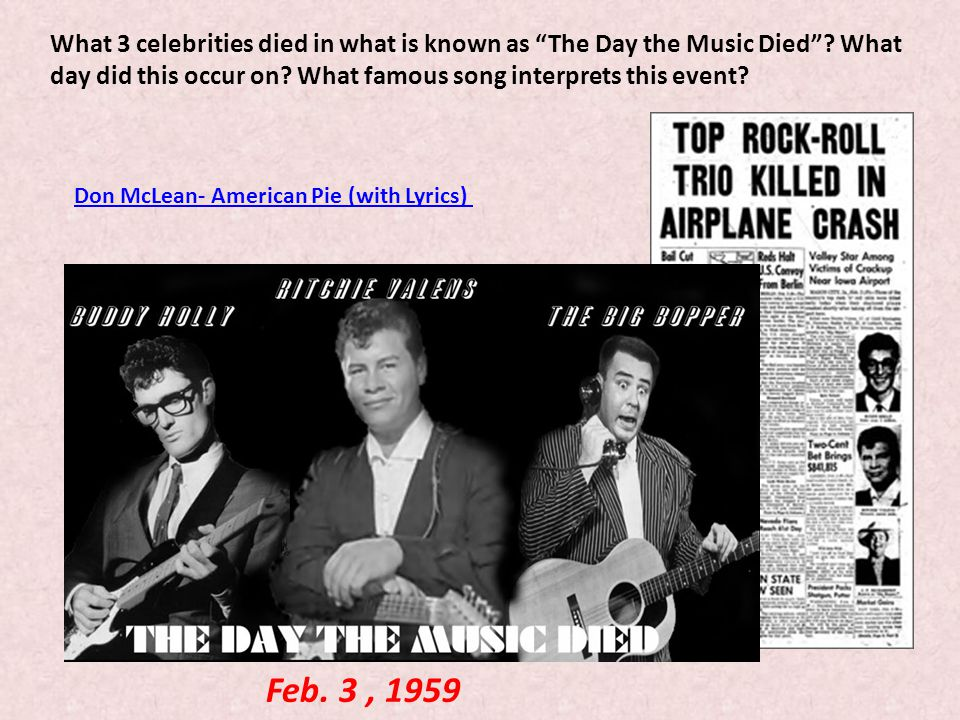What 3 celebrities died in what is known as The Day the Music Died