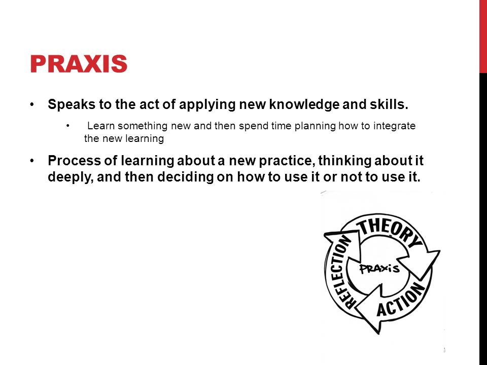 praxis Speaks to the act of applying new knowledge and skills.