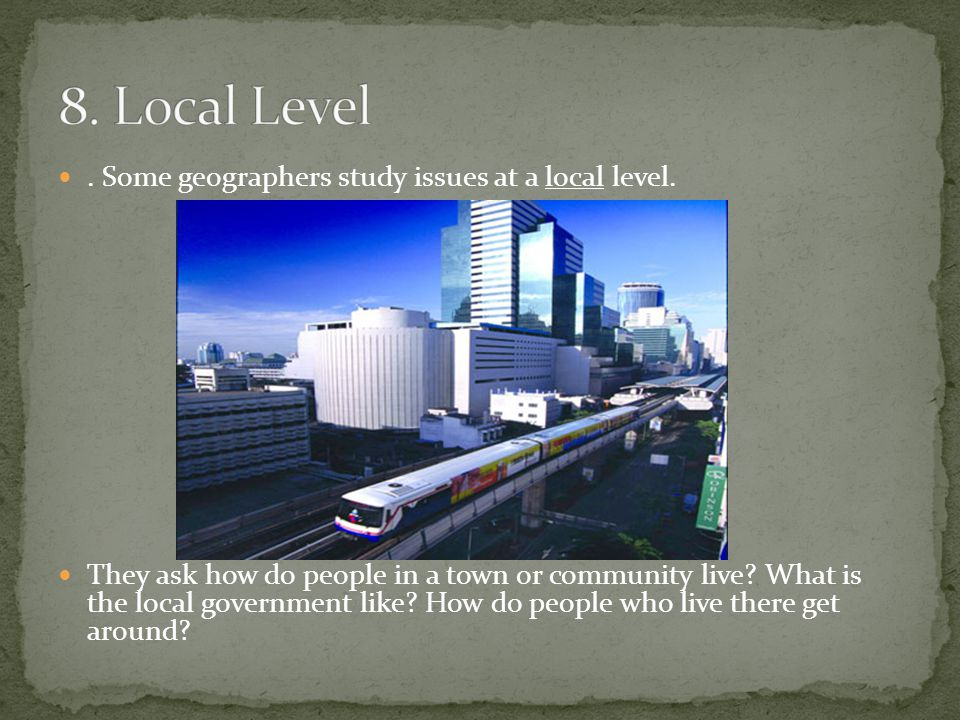 8. Local Level . Some geographers study issues at a local level.