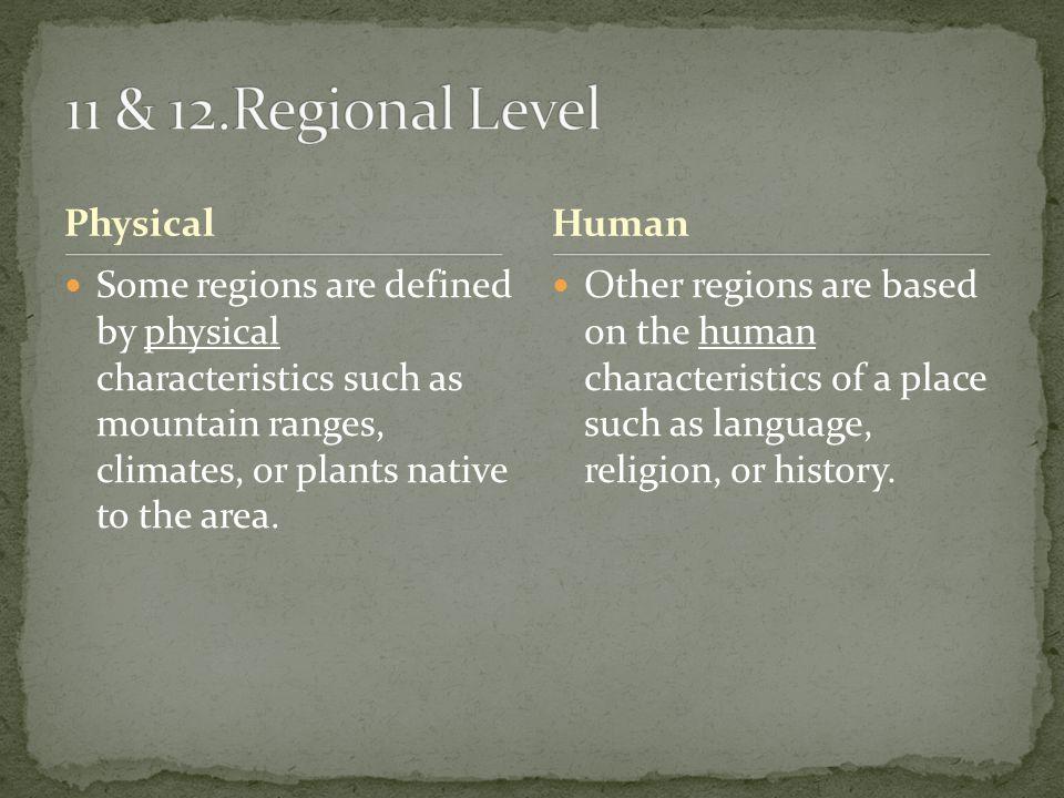 11 & 12.Regional Level Physical Human