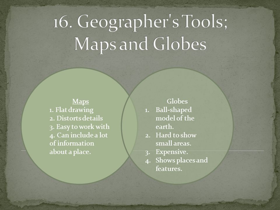 16. Geographer s Tools; Maps and Globes