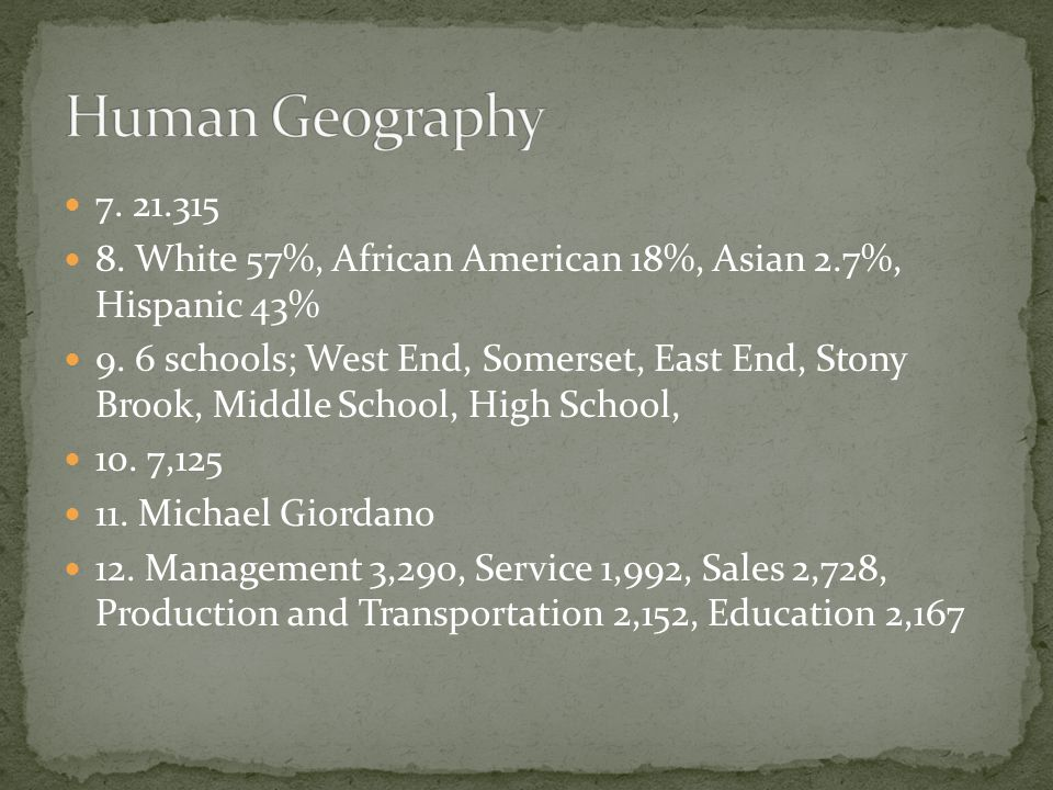 Human Geography 7. 21.315. 8. White 57%, African American 18%, Asian 2.7%, Hispanic 43%
