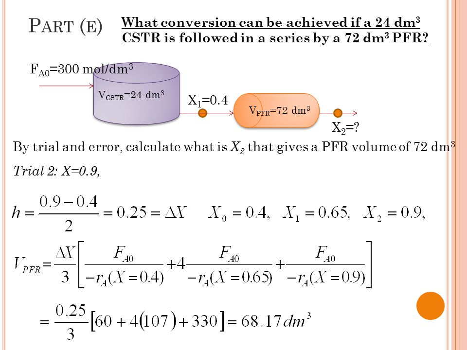 Part (e) What conversion can be achieved if a 24 dm3 CSTR is followed in a series by a 72 dm3 PFR FA0=300 mol/dm3.