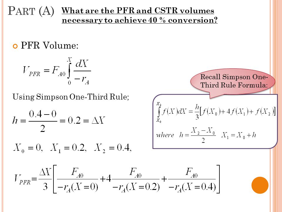 Part (A) What are the PFR and CSTR volumes necessary to achieve 40 % conversion PFR Volume: Using Simpson One-Third Rule;