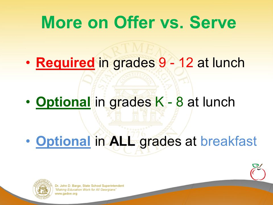More on Offer vs. Serve Required in grades 9 - 12 at lunch
