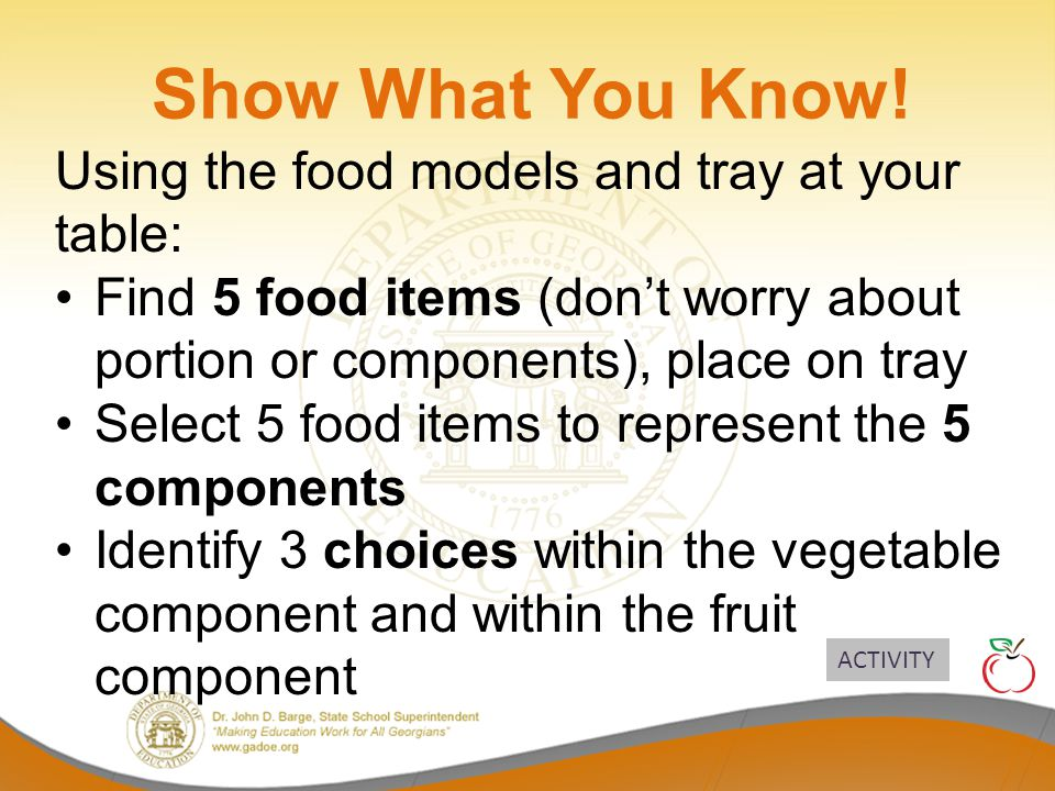 Show What You Know! Using the food models and tray at your table: