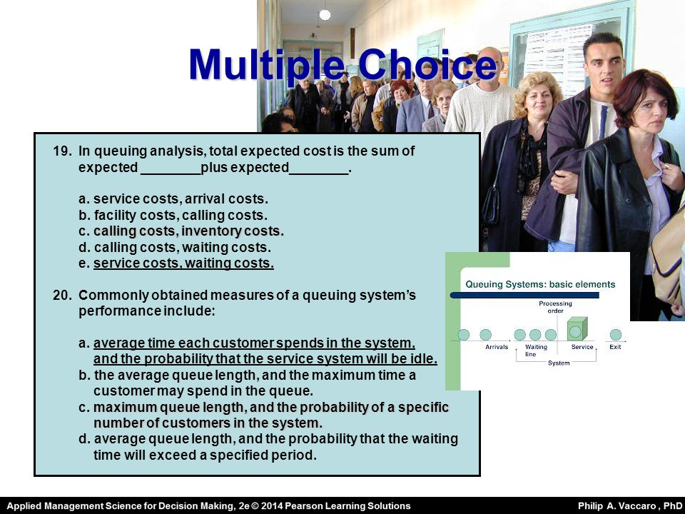 Multiple Choice In queuing analysis, total expected cost is the sum of