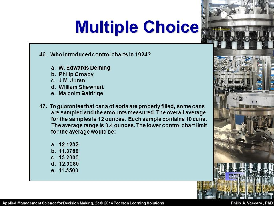 Multiple Choice 46. Who introduced control charts in 1924