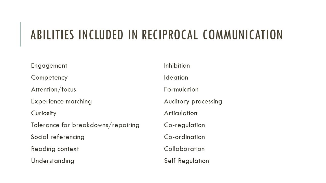 Abilities included in reciprocal communication