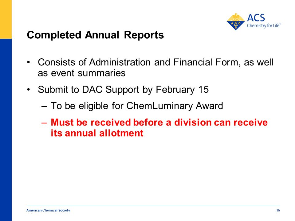 Completed Annual Reports