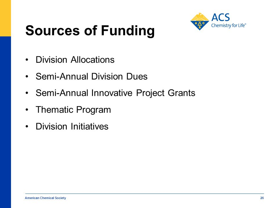 Sources of Funding Division Allocations Semi-Annual Division Dues