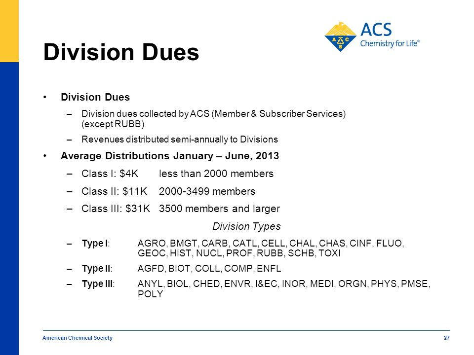 Division Dues Division Dues Average Distributions January – June, 2013
