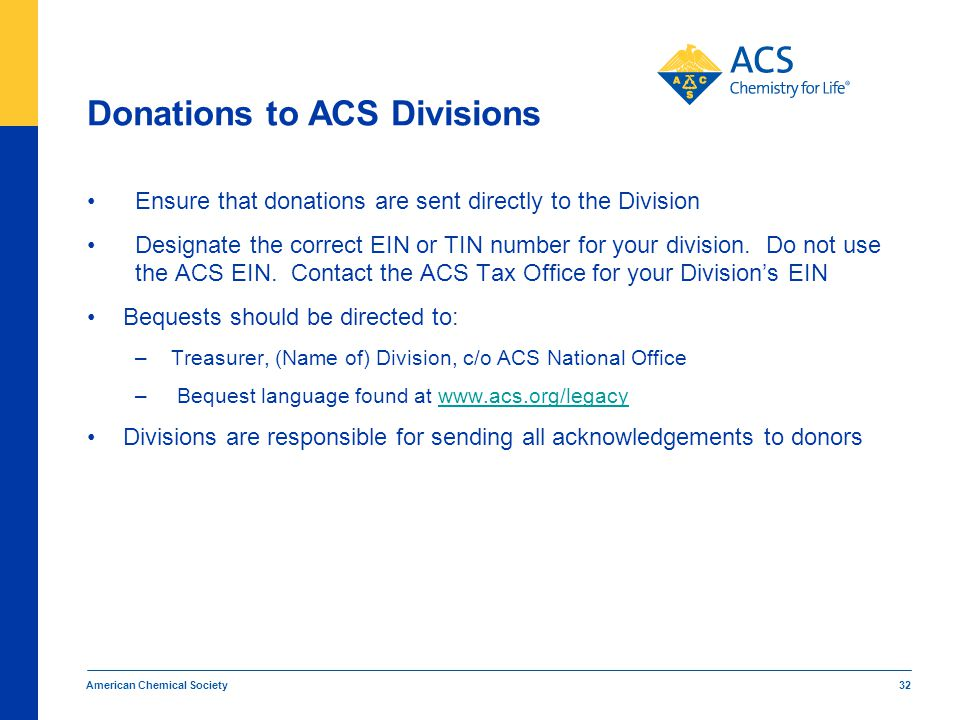 Donations to ACS Divisions