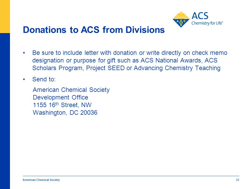 Donations to ACS from Divisions