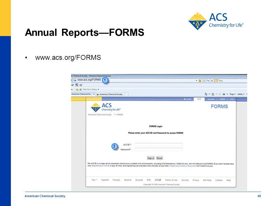 Annual Reports—FORMS www.acs.org/FORMS American Chemical Society