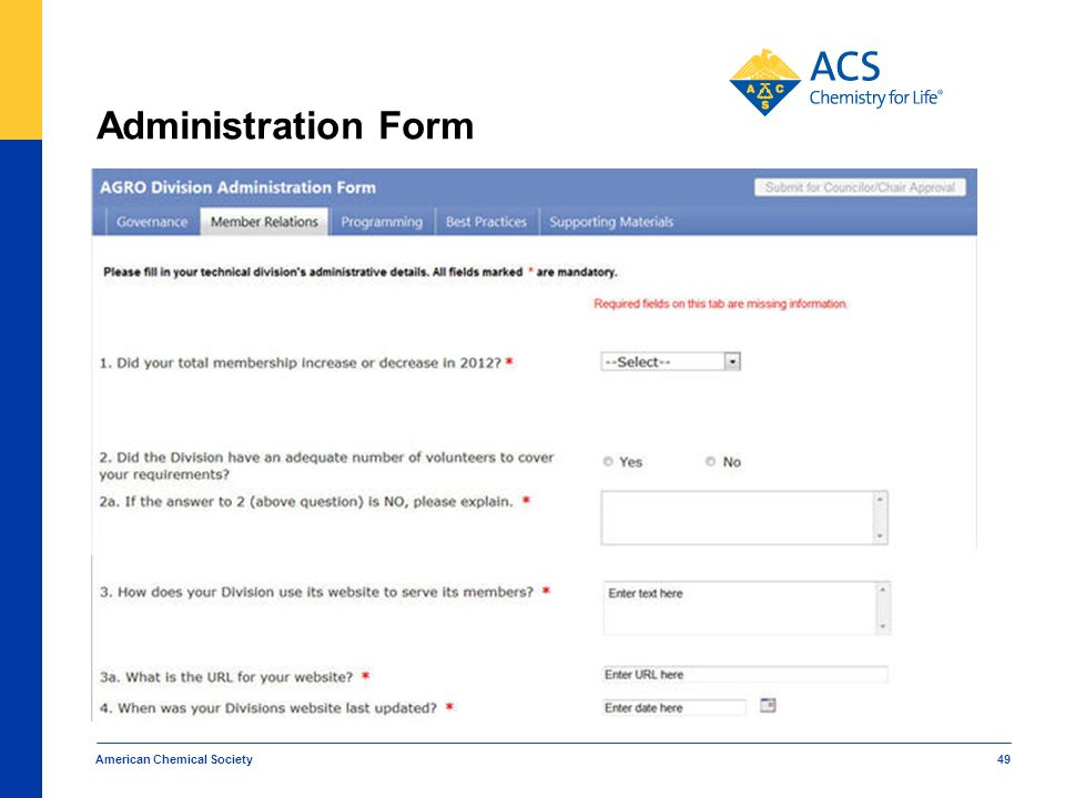 Administration Form American Chemical Society