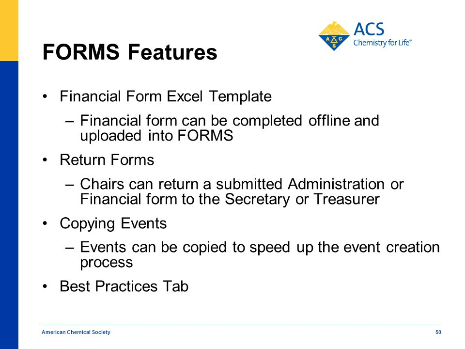 FORMS Features Financial Form Excel Template