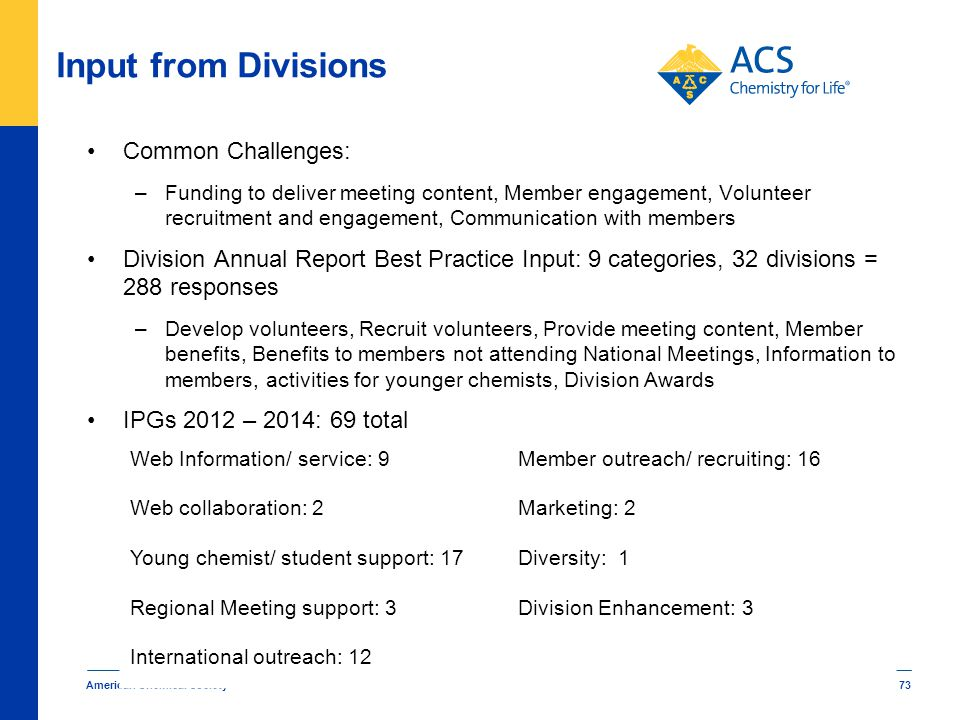 Input from Divisions Common Challenges: